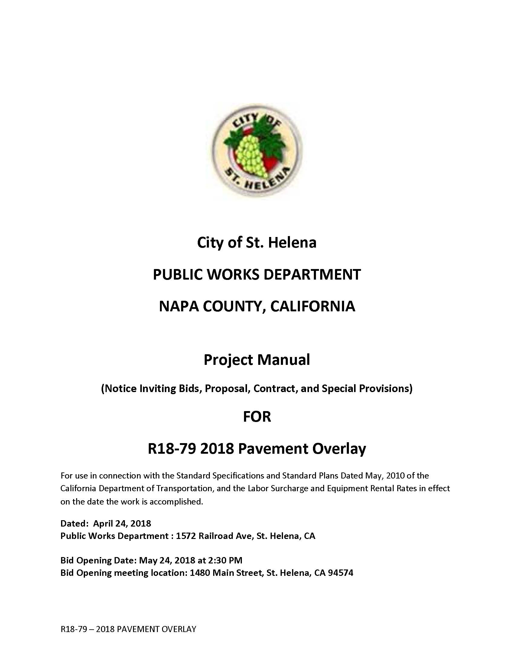 2018 Pavement Overlay R18-79 Project | City of St  Helena