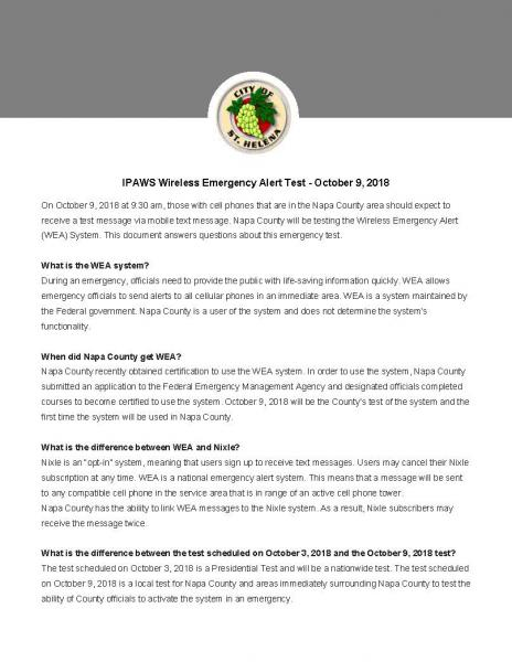 IPAWS Wireless Emergency Alert Test - October 9, 2018 | City of St