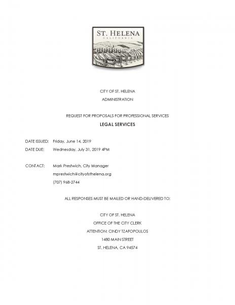 Request for Proposals for Legal Services | City of St  Helena